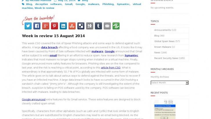 Week in review 15 August 2014