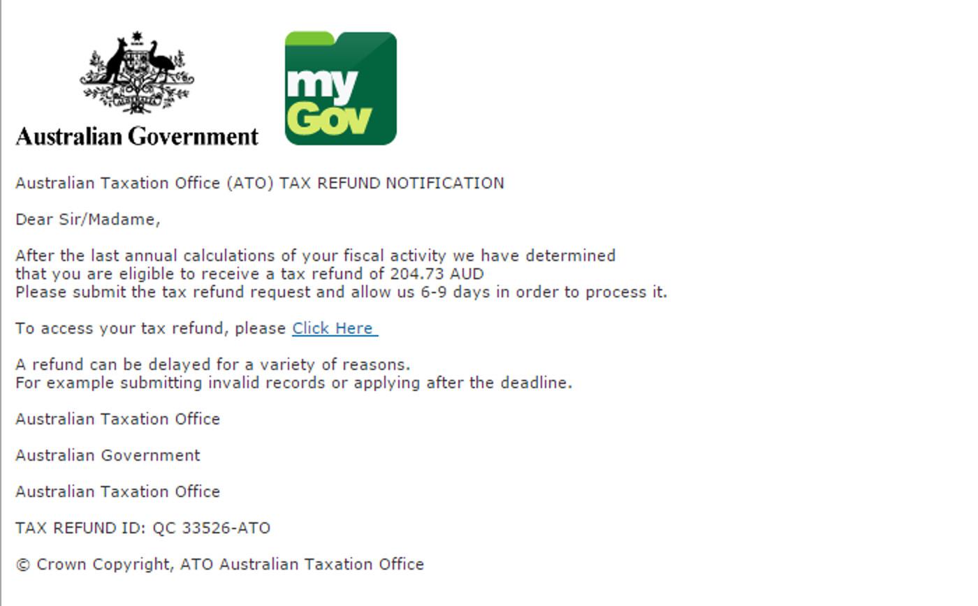 MailShark Australian Taxation Office refund phishing scam