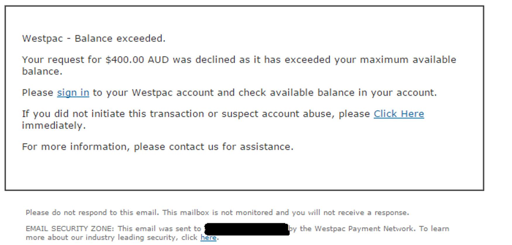 MailShark Latest phishing email mimics Westpac