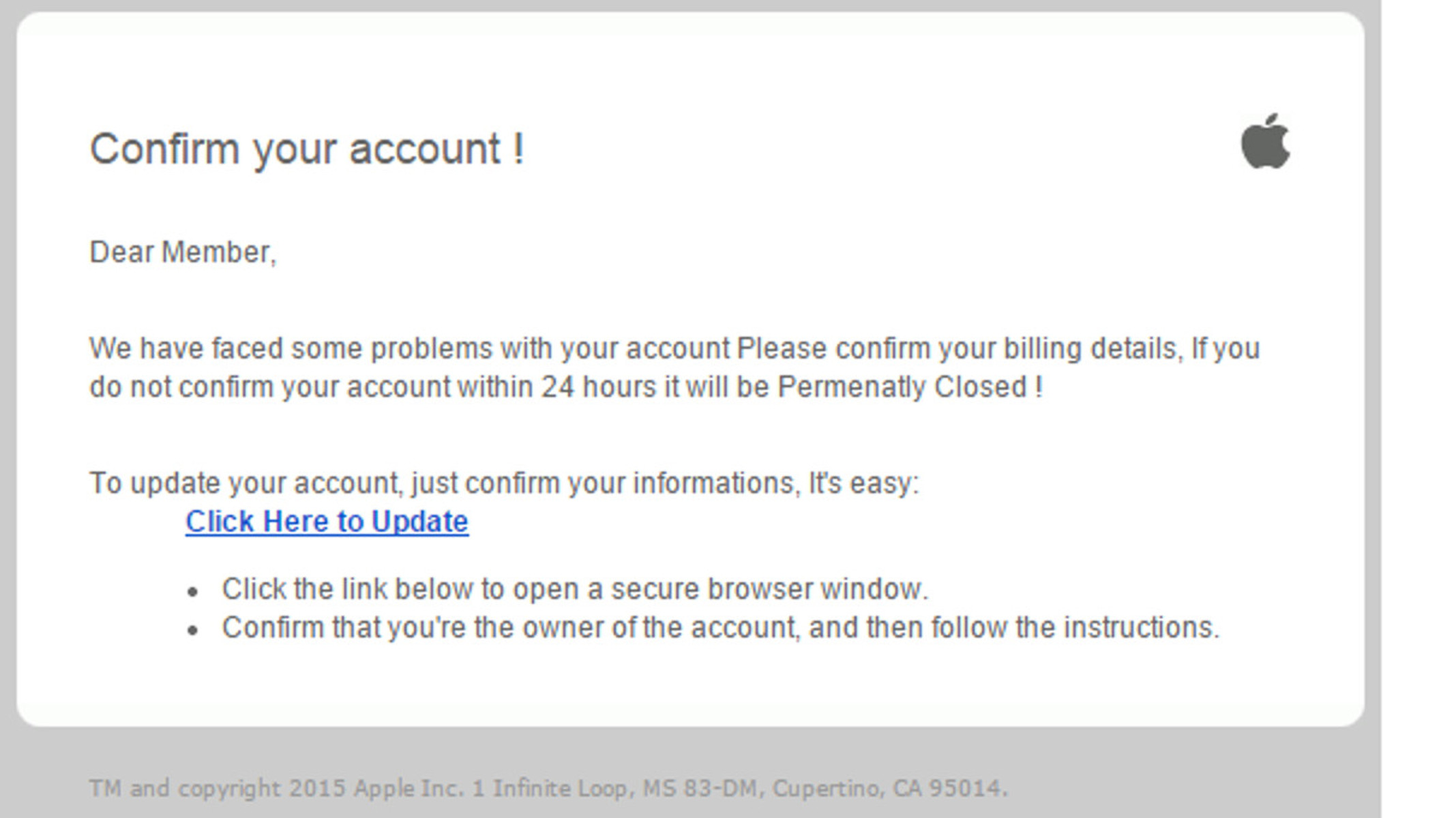 MailShark Confirm account phishing email begins
