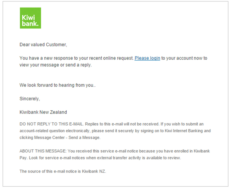MailShark New notice says Kiwi Bank phishing email
