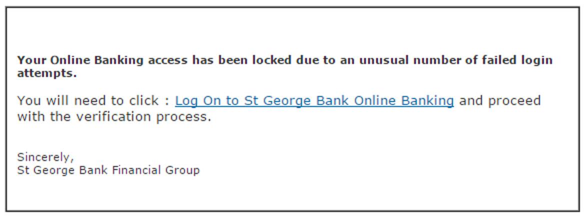 MailShark Verify St George details phishing email urges