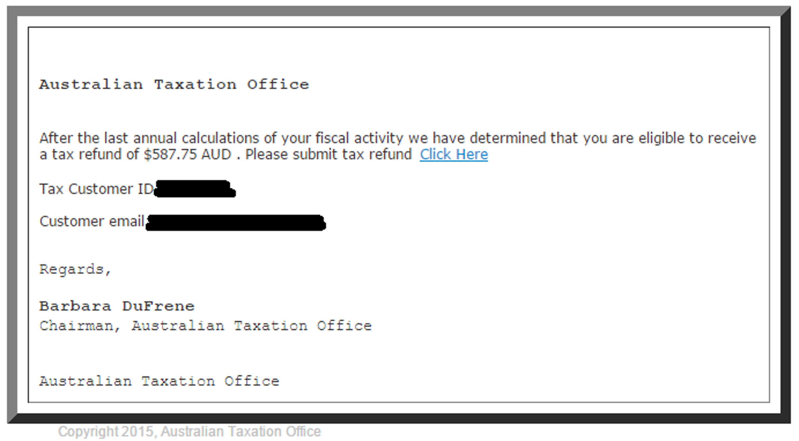 MailShark Fake Australian Tax Office emails circulating