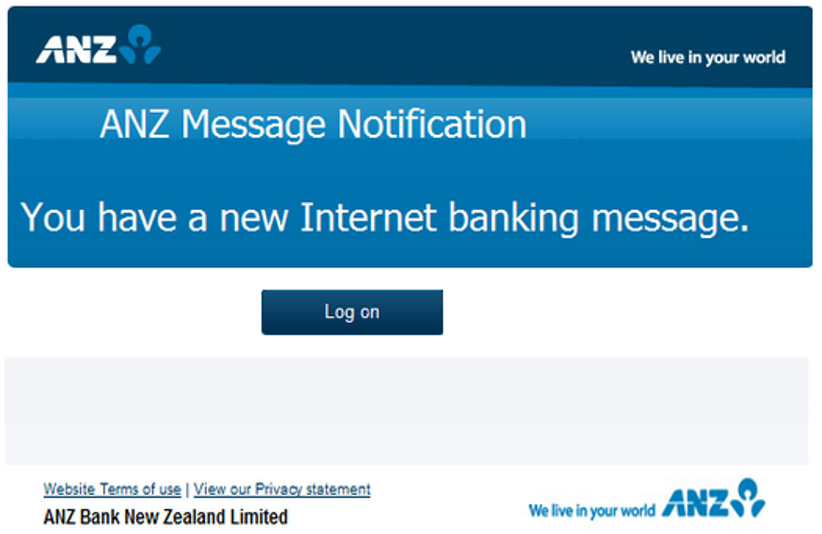 MailShark New Internet Banking Message phishing scam
