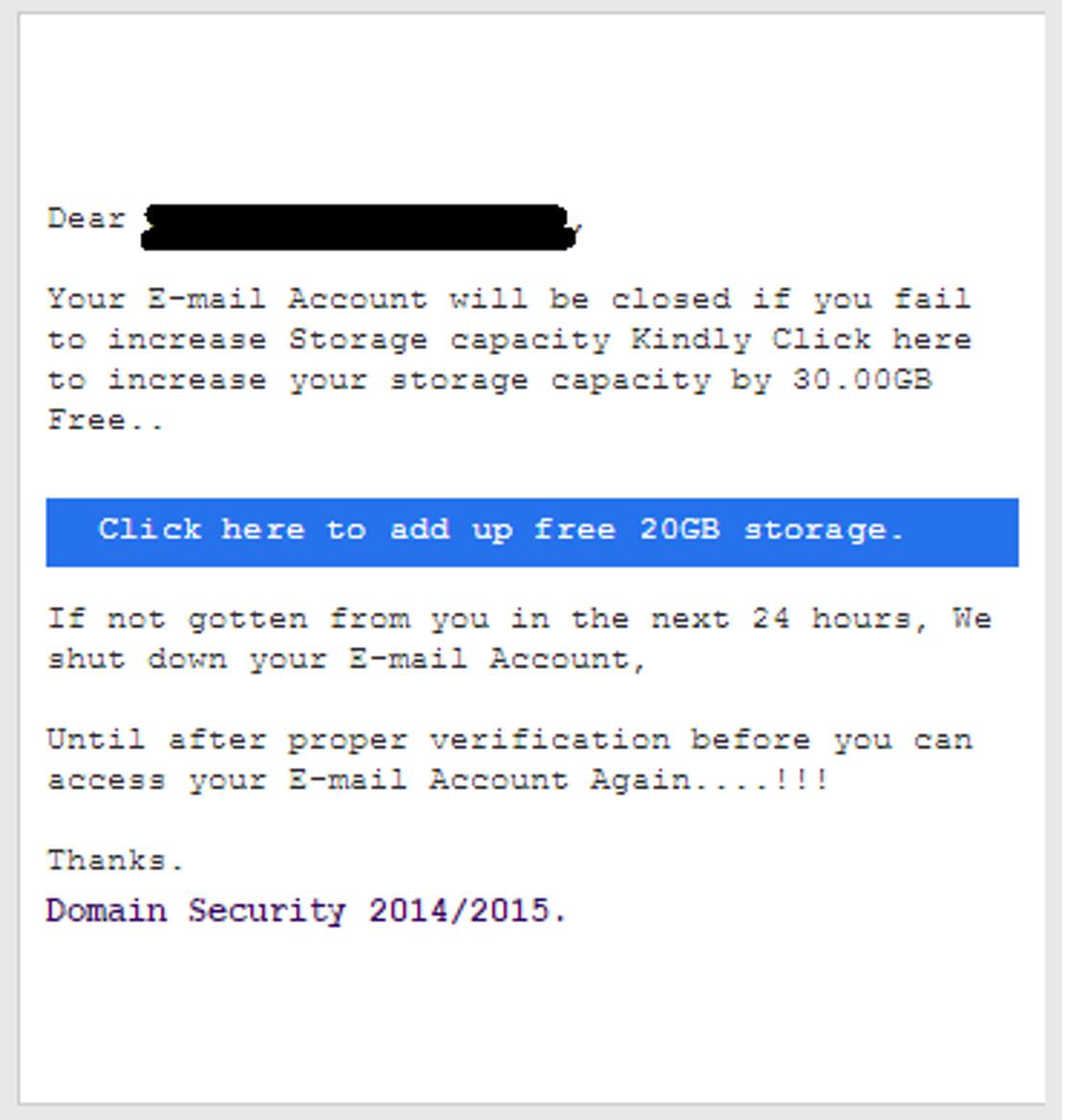 MailShark Upgrade mailbox phishing email states