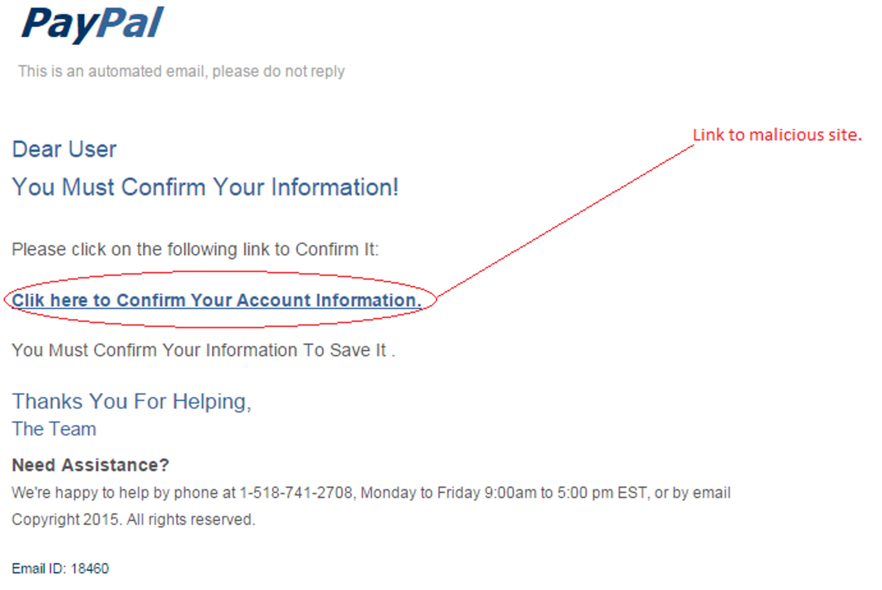 MailShark Confirm Information says phishing email