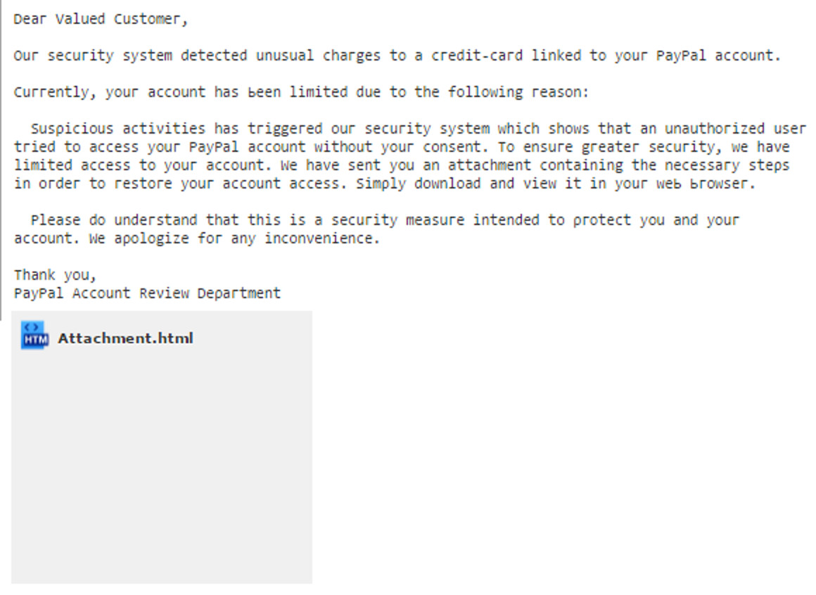 MailShark PayPal Account Validation phishing email