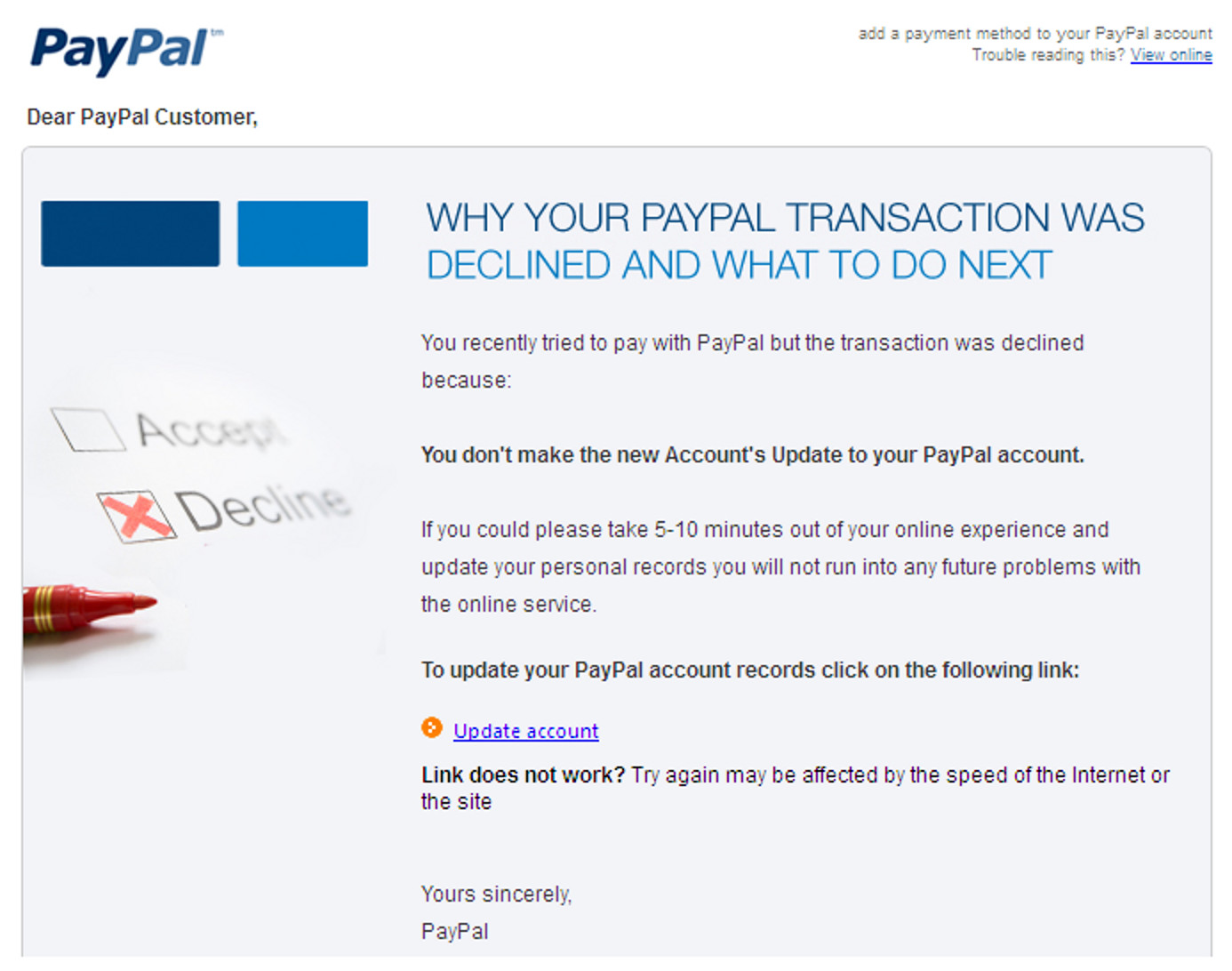 Paypal Account Suspended Email