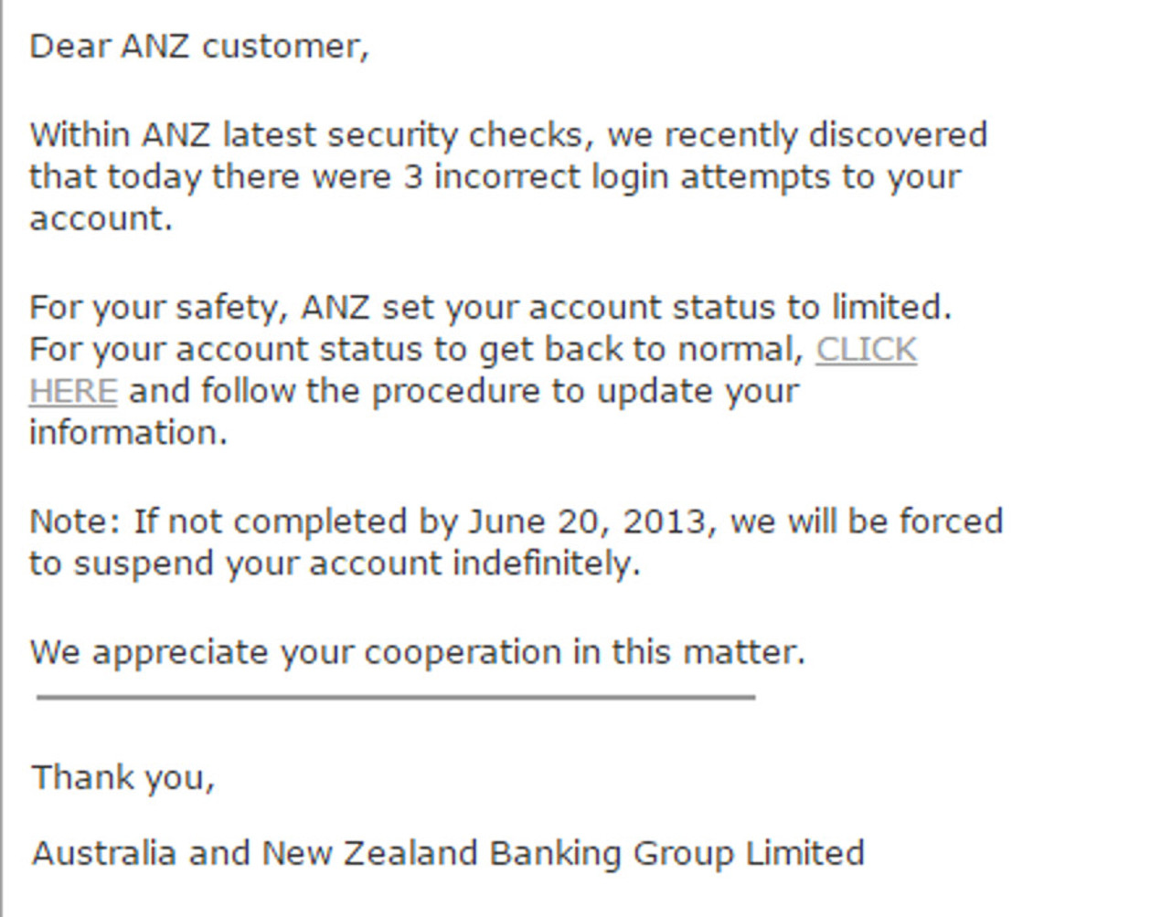 MailShark Yet another ANZ Phishing email