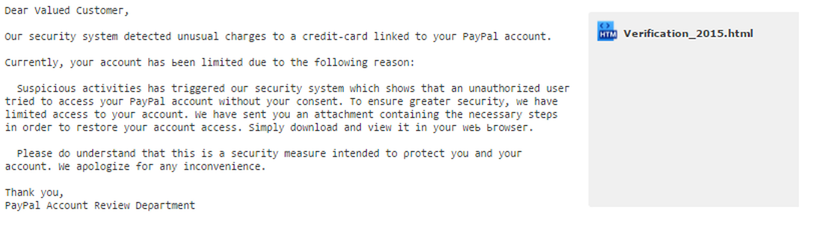 MailShark PayPal account review phishing email