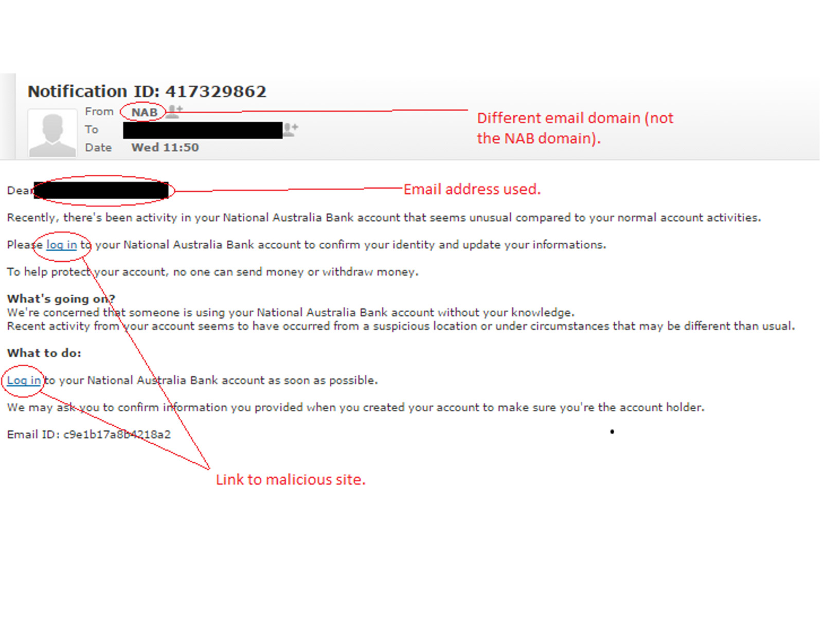 MailShark Latest email phish targets NAB customers