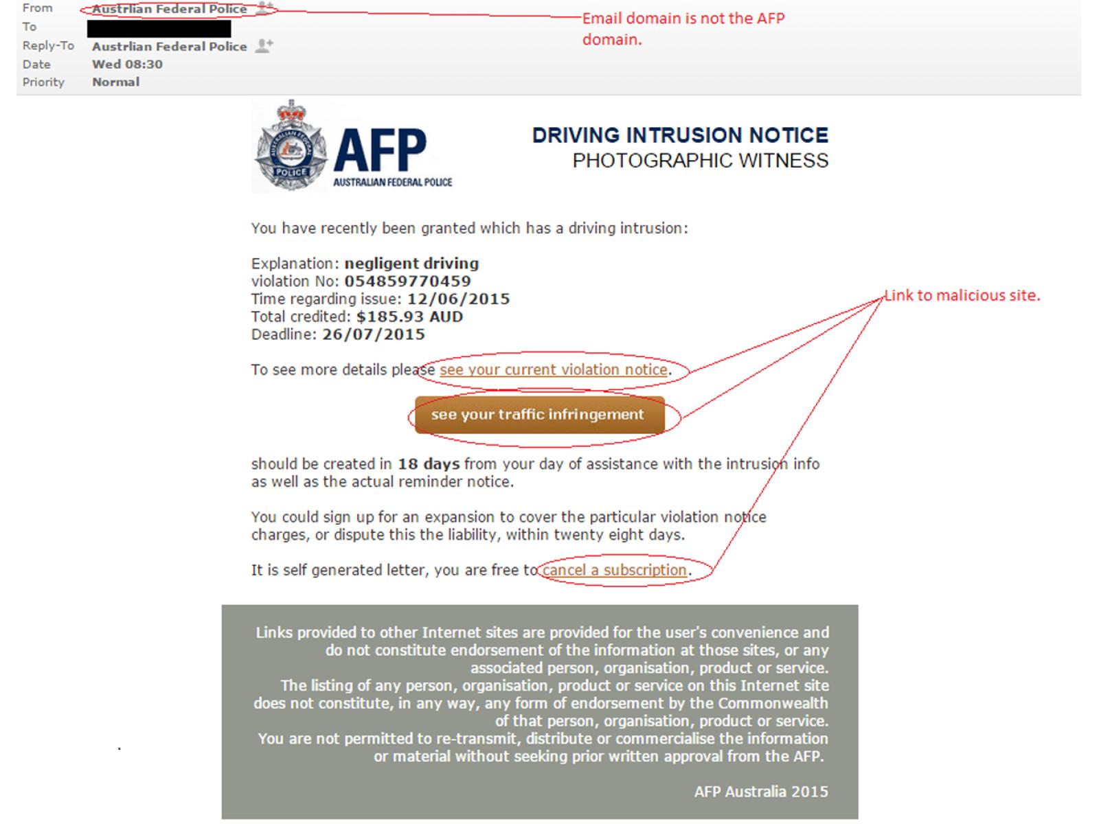 MailShark Speeding fine scam downloads malware