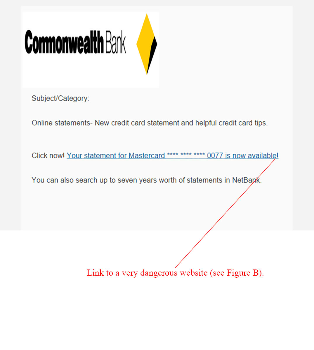 Commonwealth Bank Credit Card Statement Email Scam