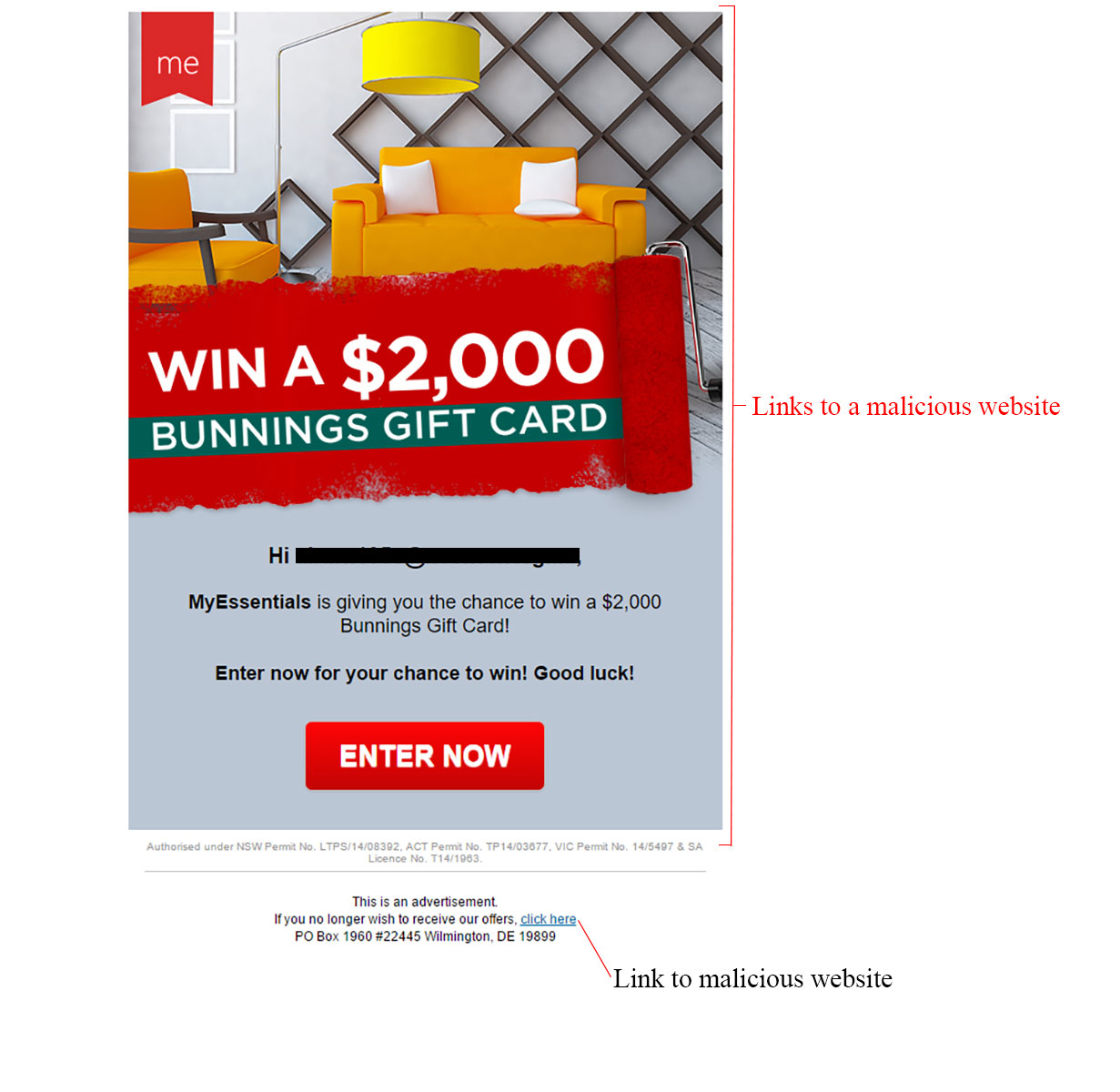 MailShark Win a Bunnings Gift Card Email Scam