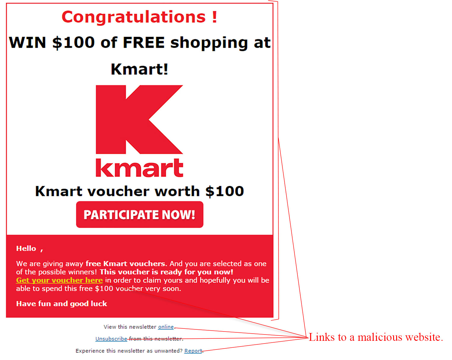 MailShark Get Your Kmart Gift Card Email Scam