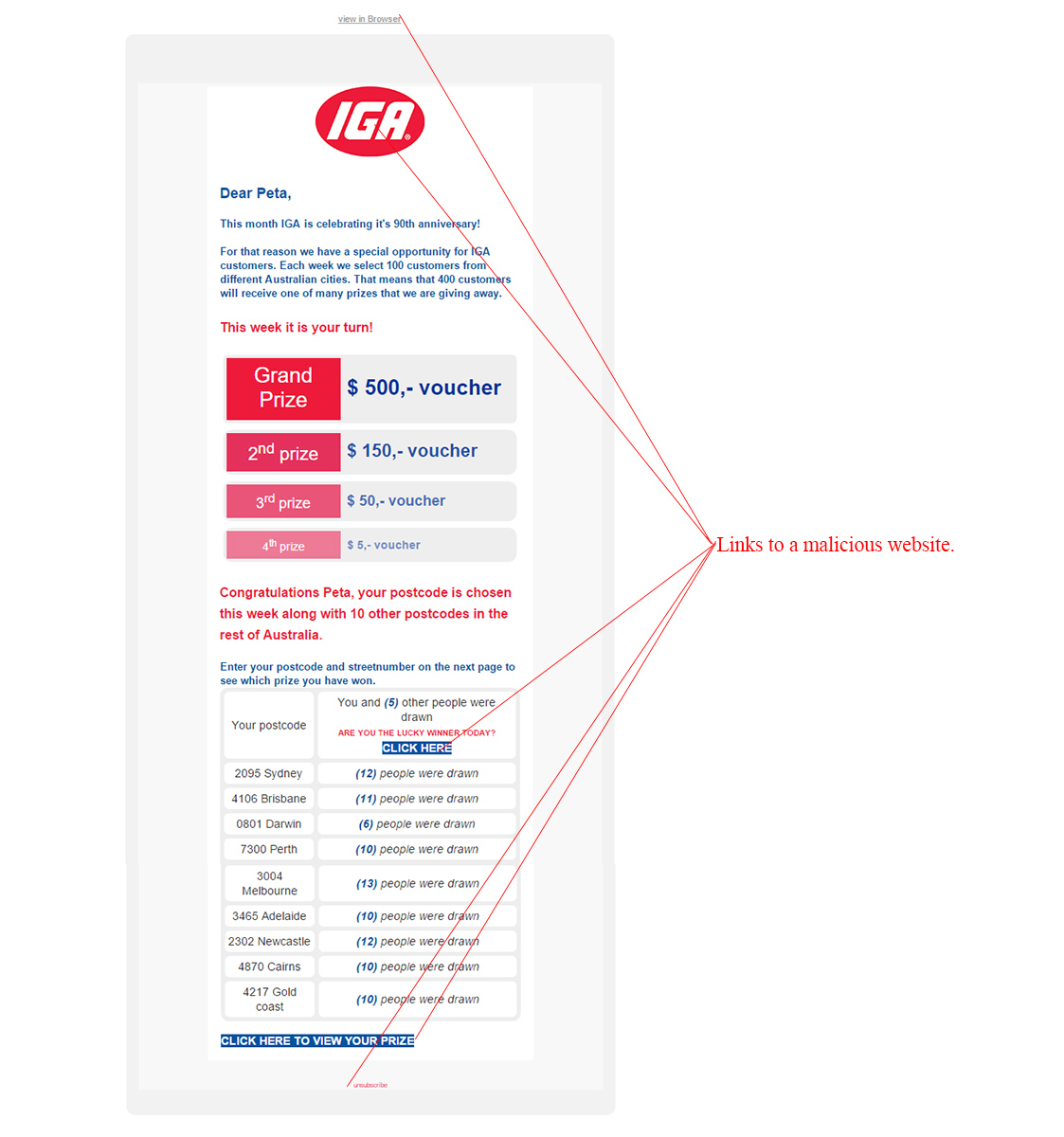 MailShark IGA Gift Voucher Surprise Email