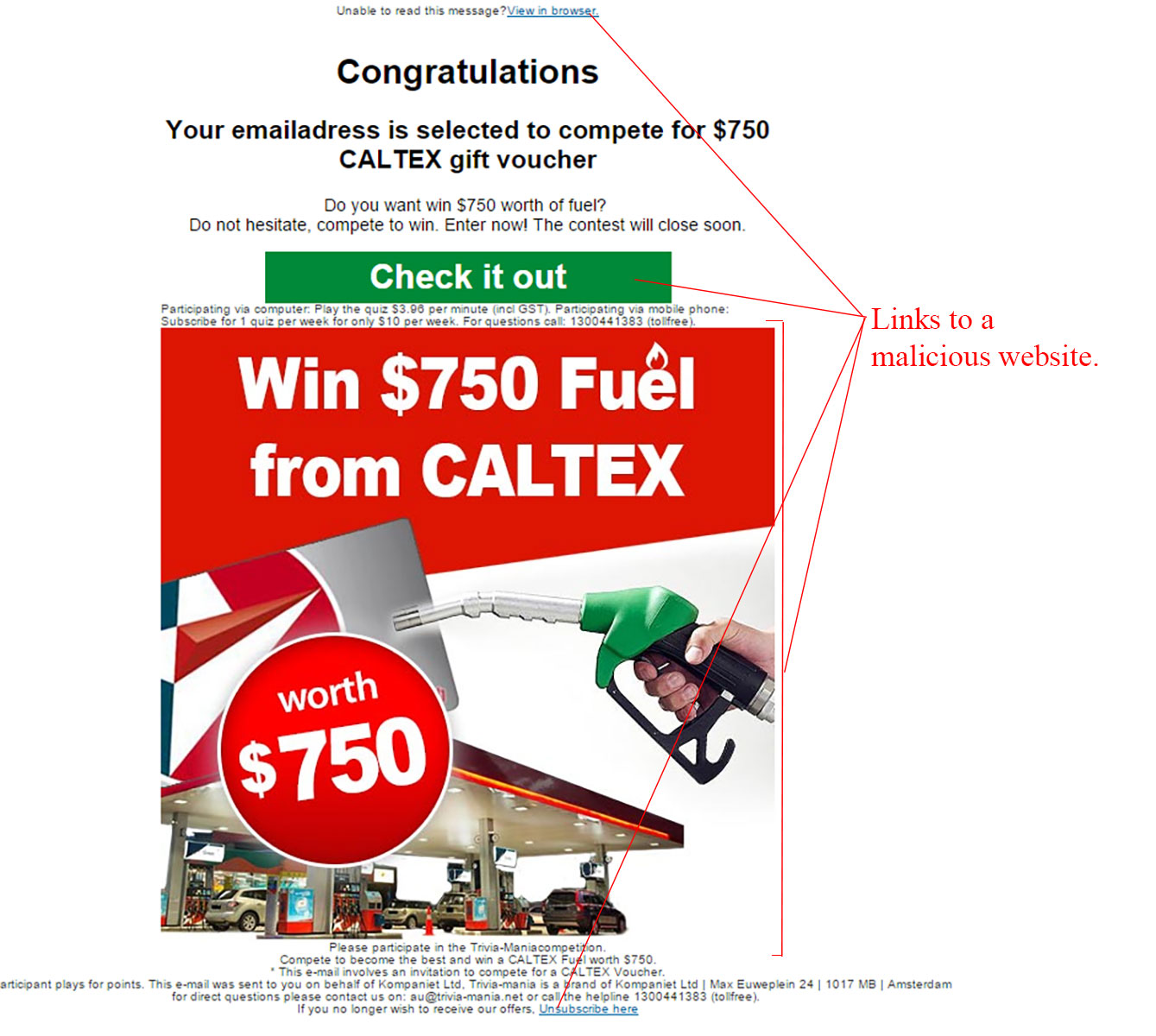 MailShark Compete For $750 Caltex Voucher Scam