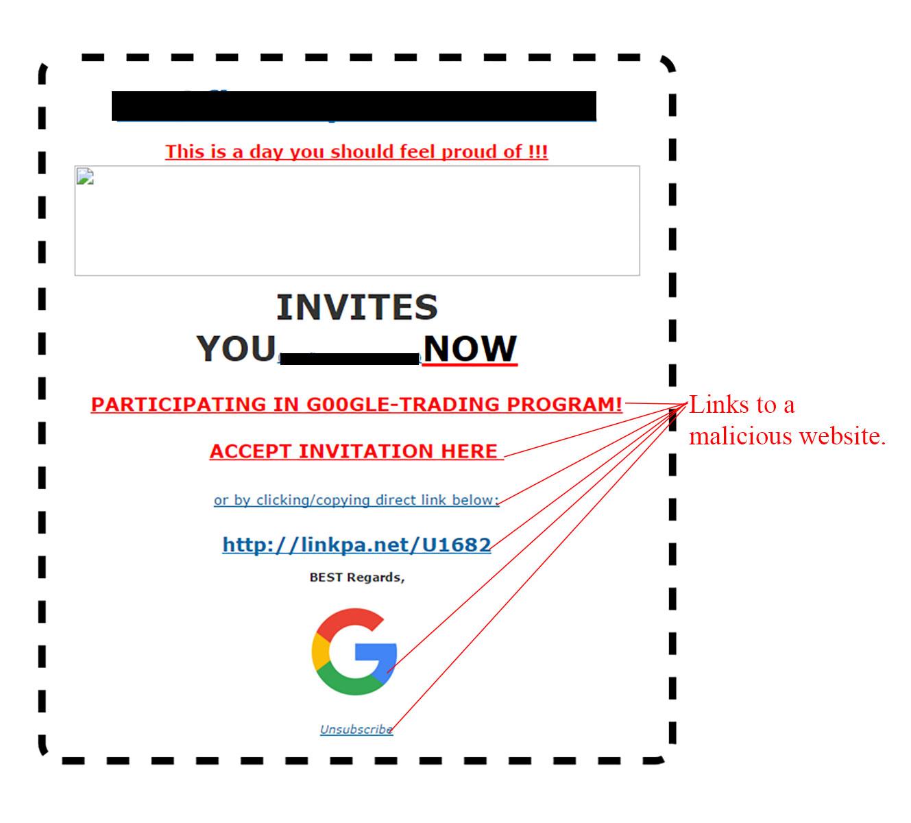 MailShark Google Trading Program Invite Scam