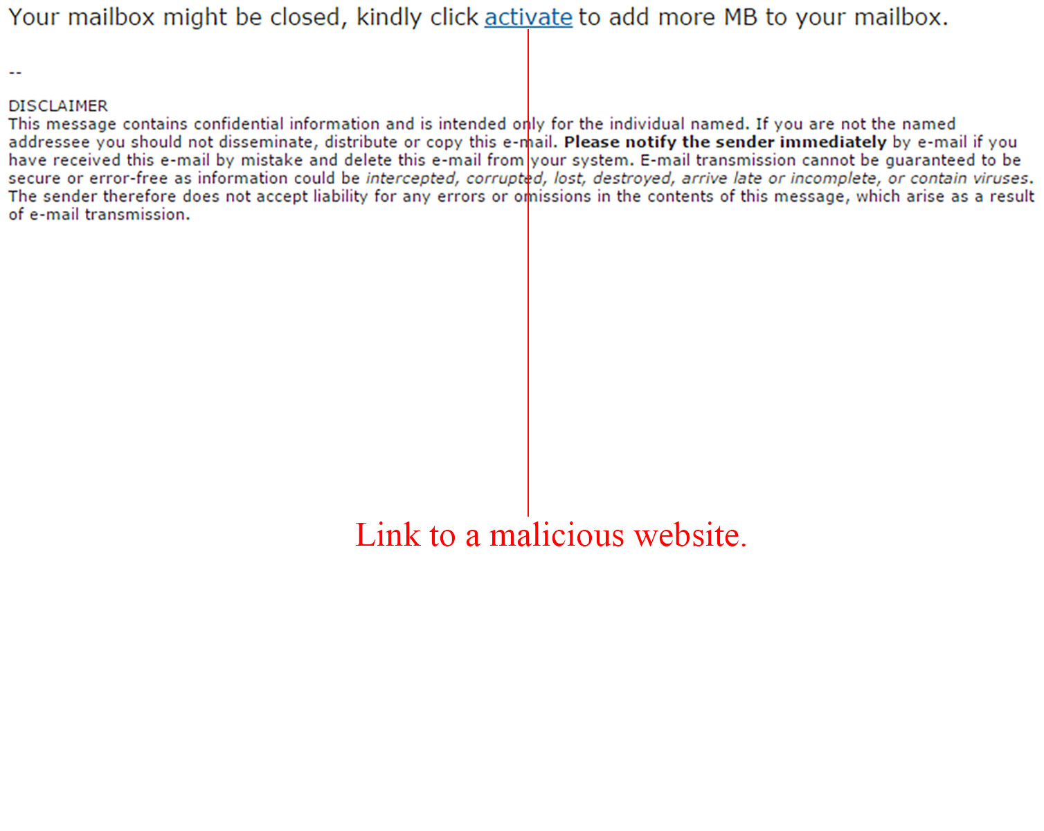 MailShark Warning Email Closed Phishing Scam