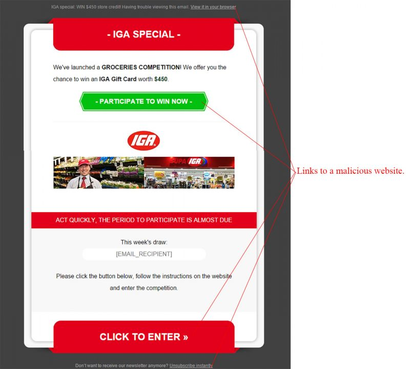 Win a $450 IGA Gift Card Scam