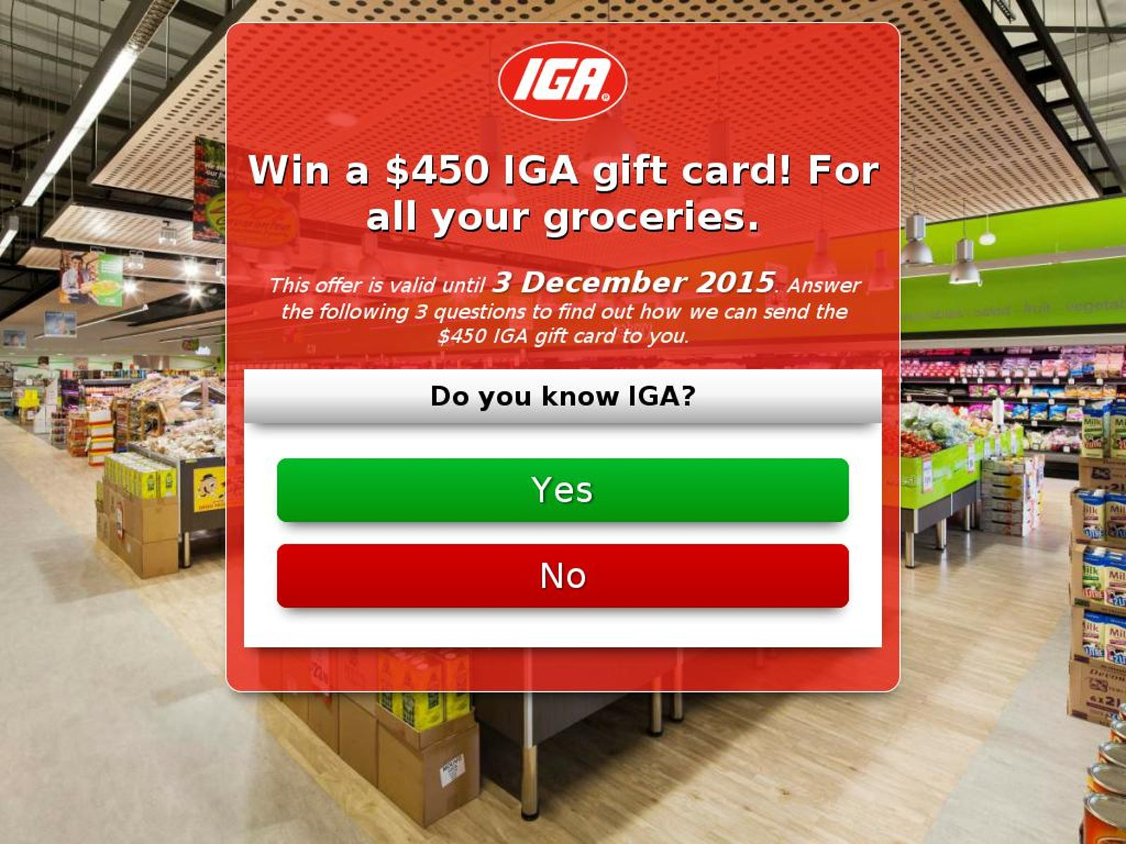 MailShark Win a 450 IGA gift card for all your groceries Visit Website