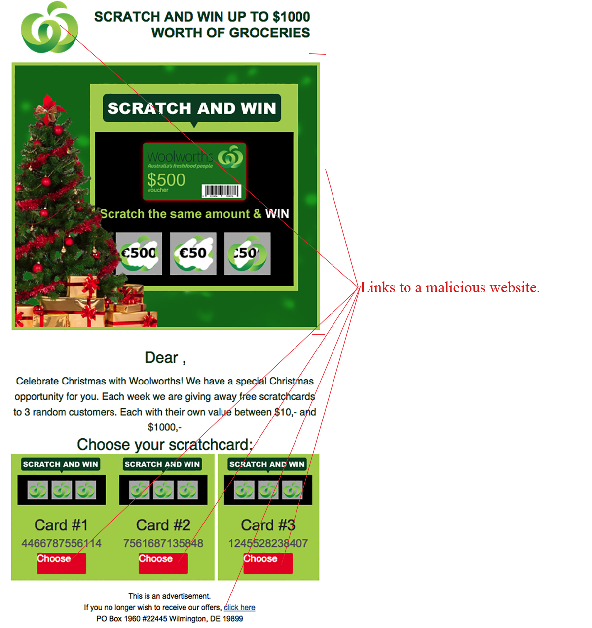 MailShark Woolworths Scratch and Win Groceries Scam
