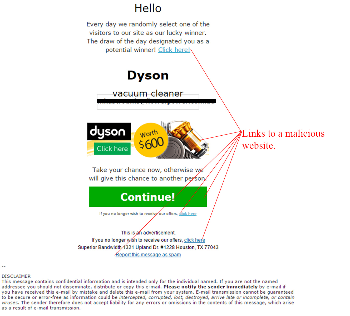MailShark Free Dyson Vacuum Email Scam