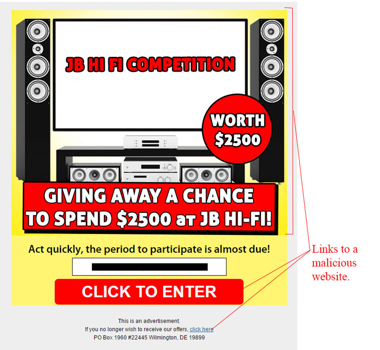 MailShark JB Hi-Fi Competition Gift Card Scam