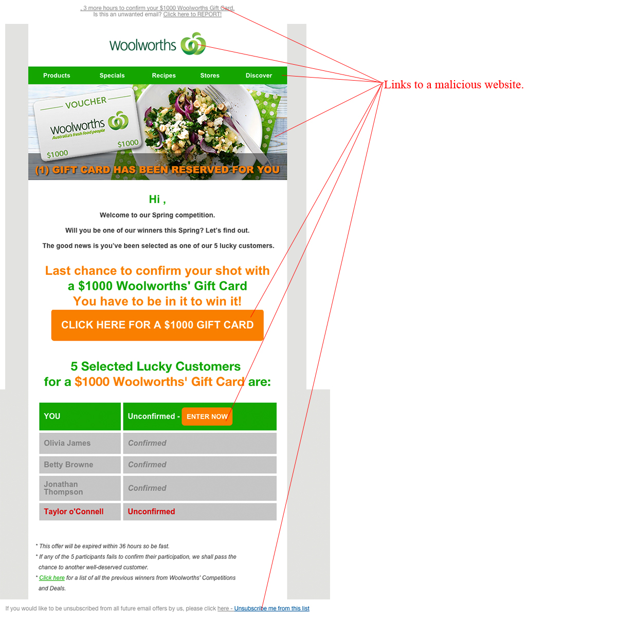 MailShark $1000 Woolworths Gift Card Malware Scam