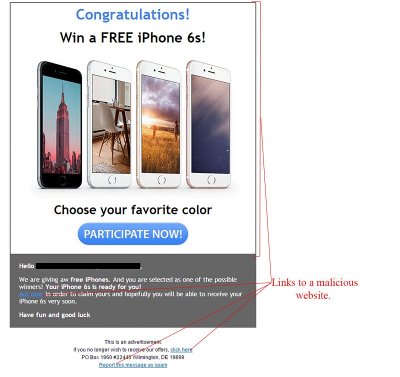 Win A Free Iphone 6 >> Participate To Win An Iphone 6s Malware Scam Mailshark