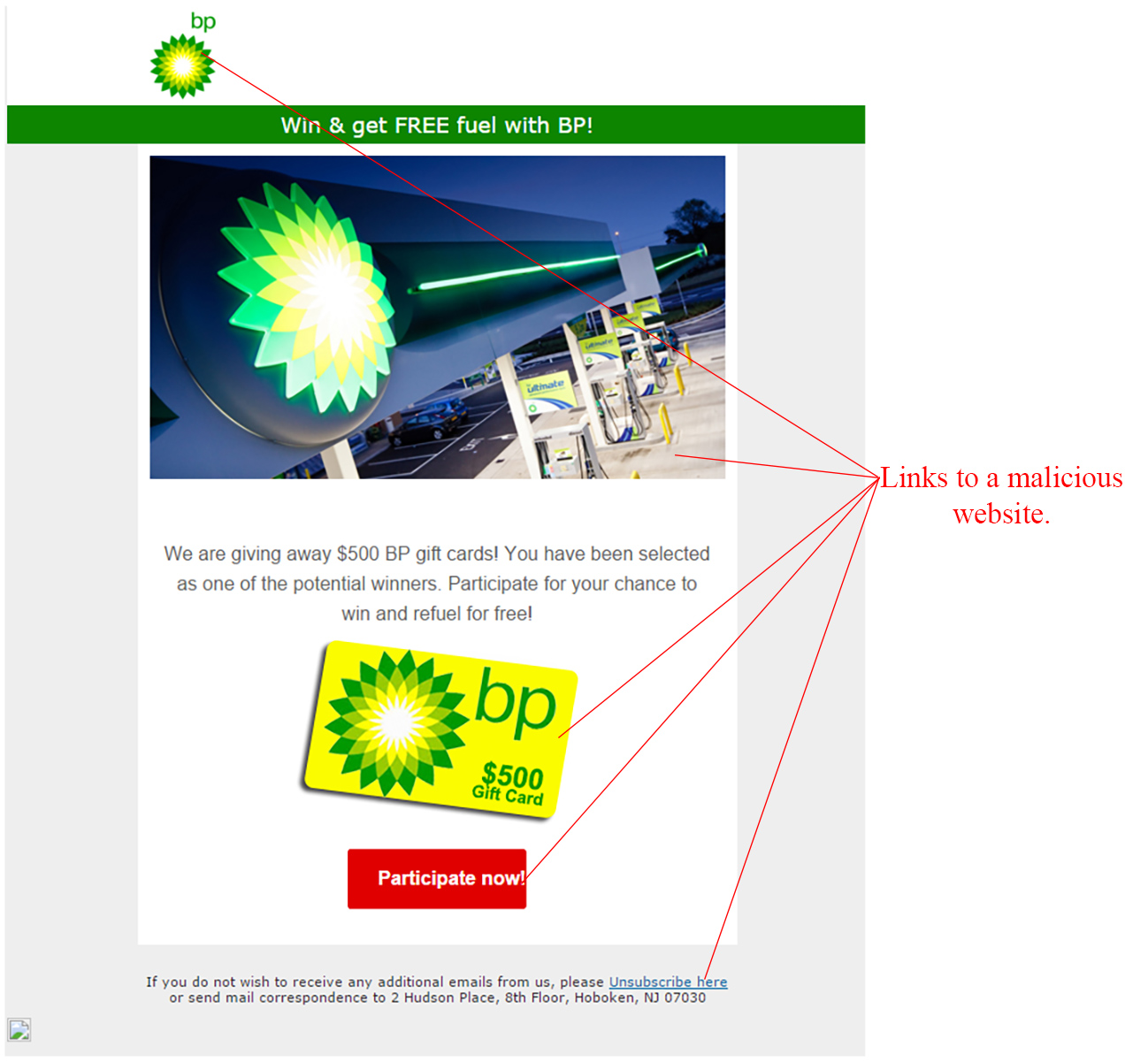 MailShark Win Free Fuel With BP Scam