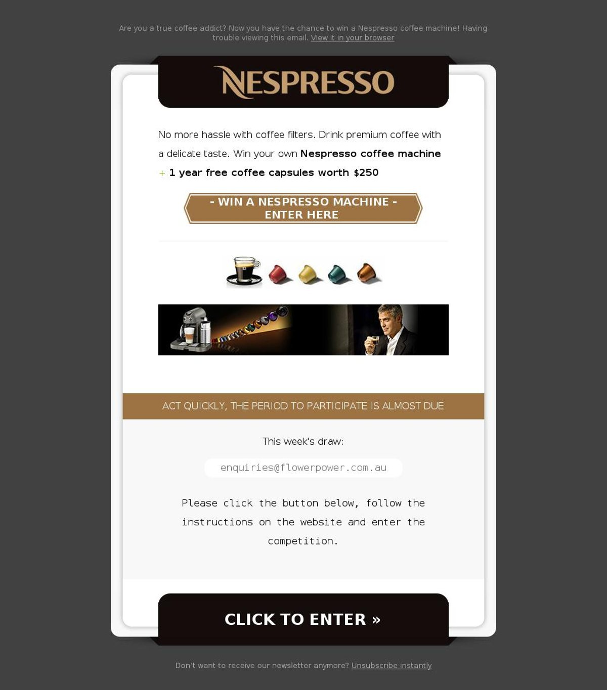 MailShark Win your own Nespresso coffee machine Visit Website