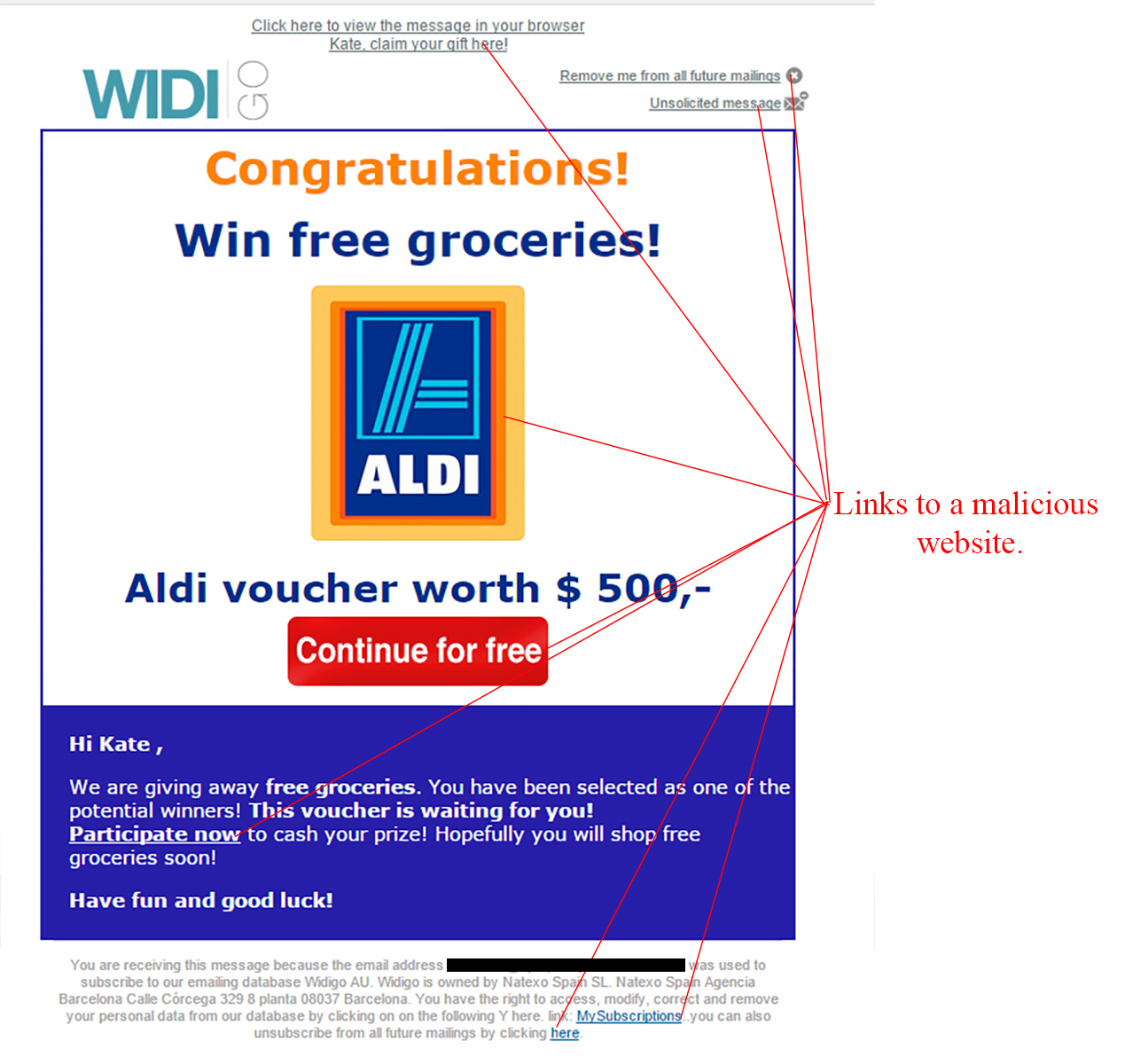MailShark Great Customer Aldi Gift Card Scam