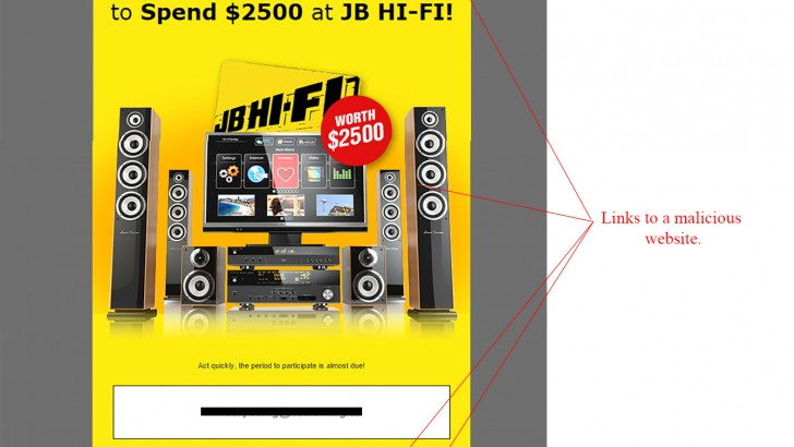 JB Hi-Fi Competition Winner Email Scam
