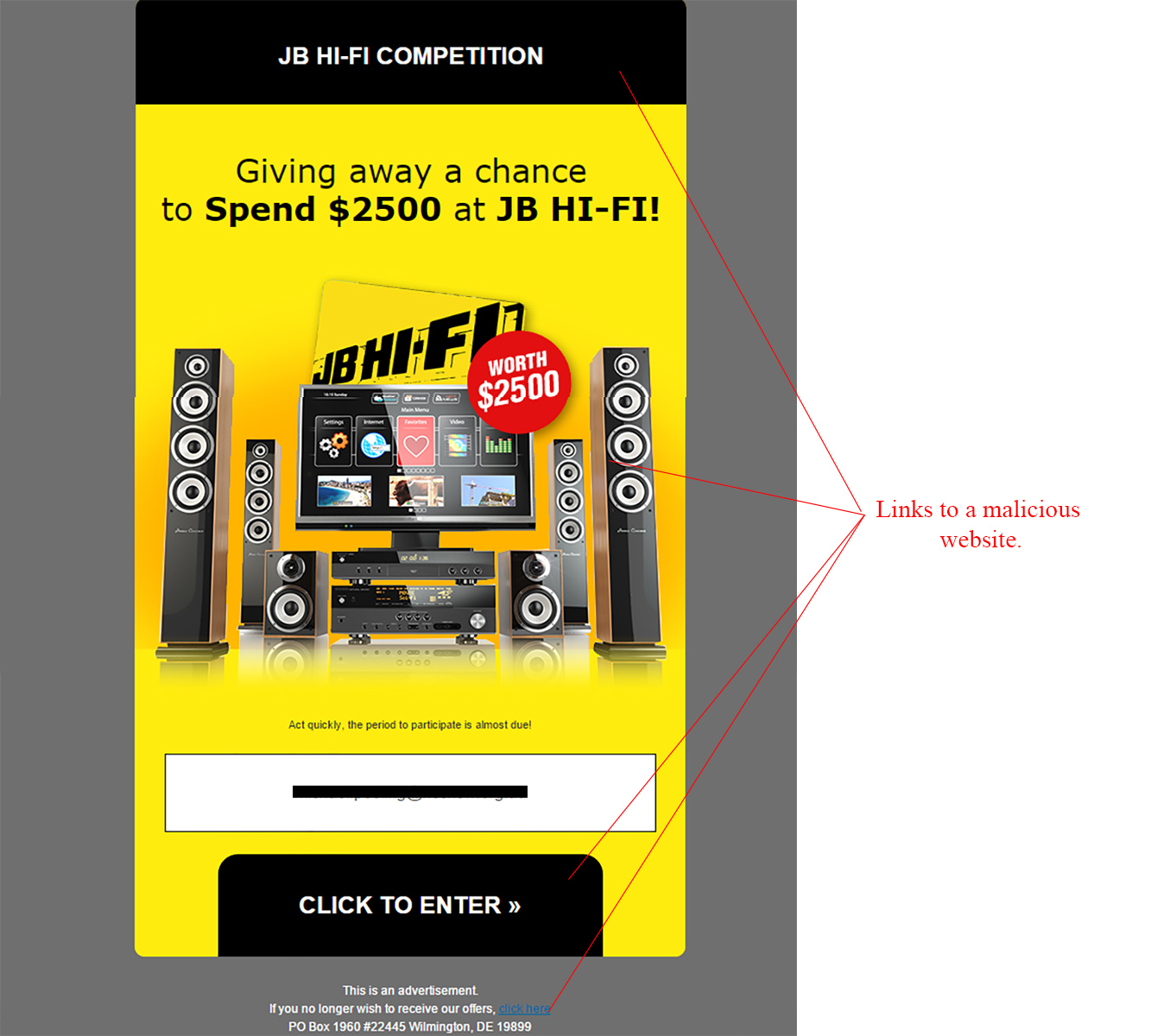 MailShark JB Hi-Fi Competition Winner Email Scam
