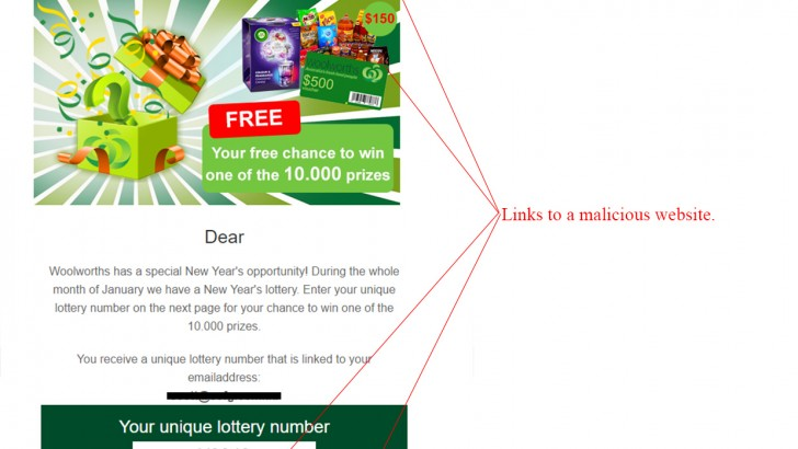Woolworths Lottery Competition Scam