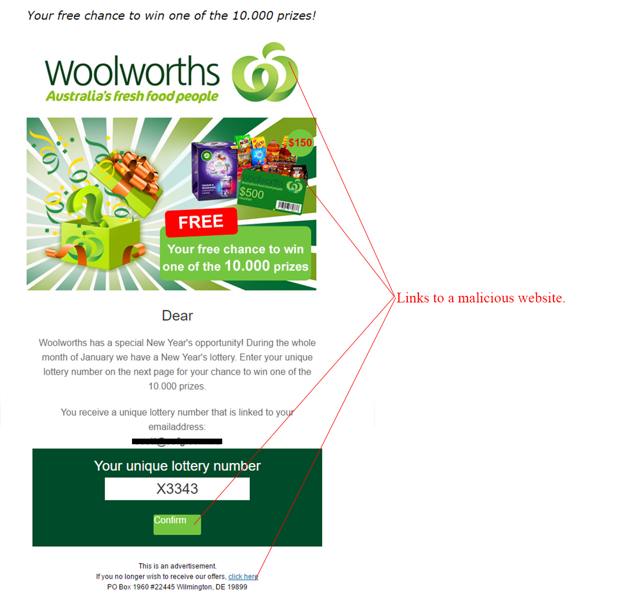 MailShark Woolworths Lottery Competition Scam