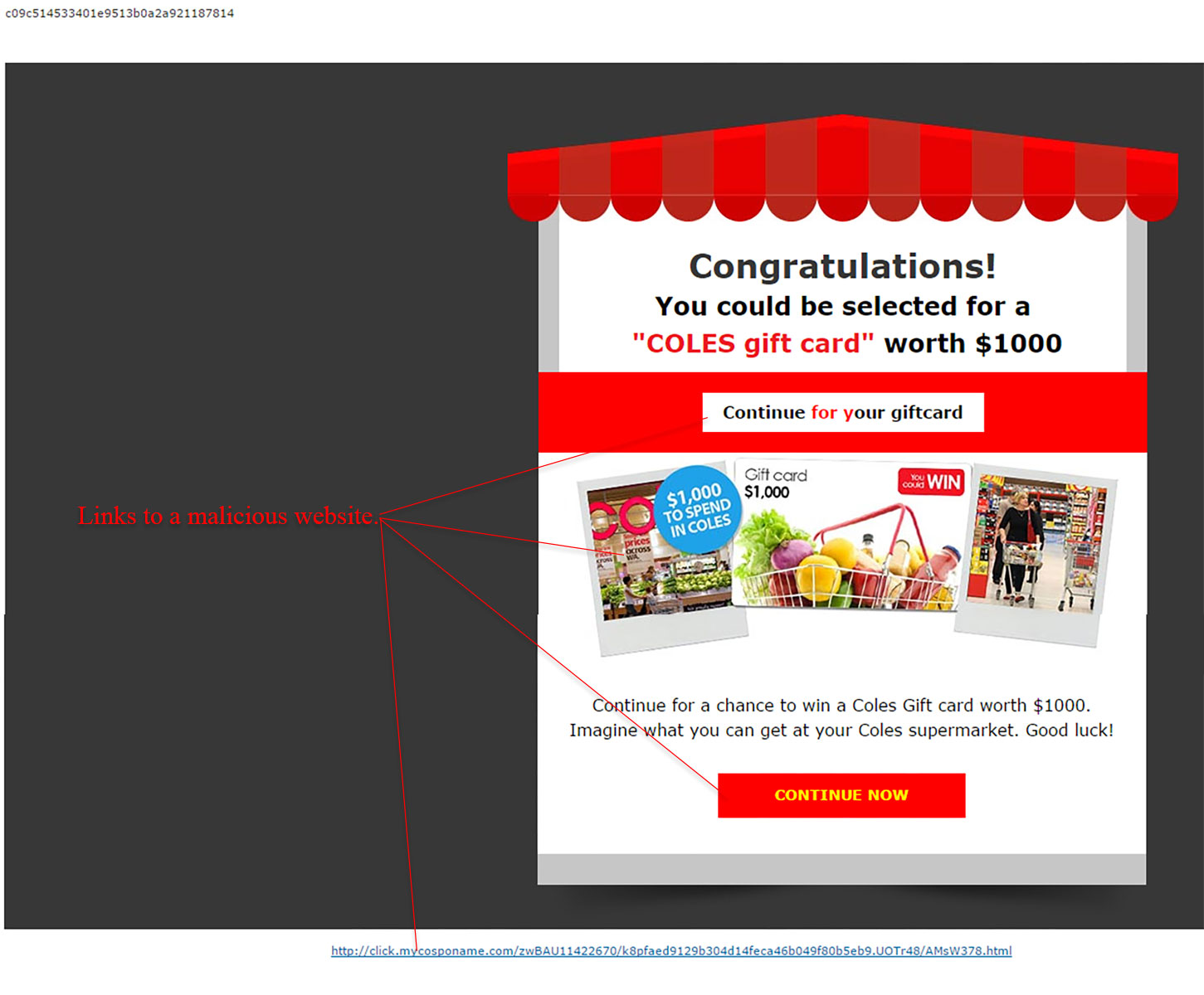MailShark Your 1000 AUD Coles Gift Card Scam