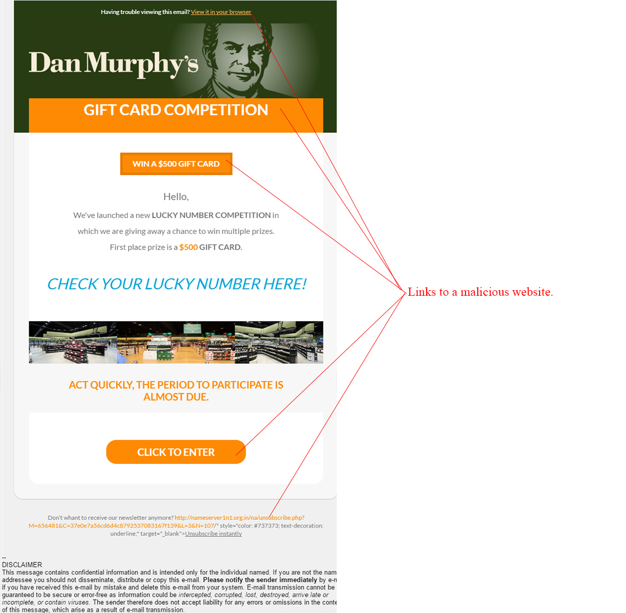 MailShark Dan Murphys Lucky Numbers Competition Scam